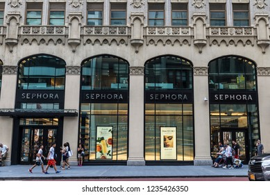 New York City, USA - July 28, 2018: Sephora, luxury perfumery store, in Fifth Avenue (5th Avenue) with people around in Manhattan in New York City, USA