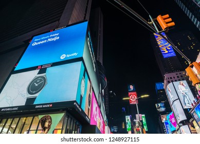 New York City, USA - July 30, 2018: Times Square at night with large advertising screens in Manhattan in New York City, USA