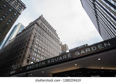New York City, USA - July 25, 2018: Facade of the Madison Square Garden (MSG o Garden) in Manhattan in New York City, USA
