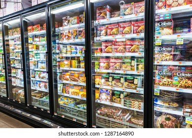 New York City, USA - July 25, 2018: Frozen food in a supermarket of Harlem in Manhattan in New York City, USA