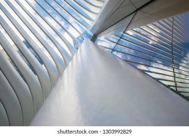 New York City, USA - July 26, 2018: Interior of the World Trade Center station (PATH), a new transit hub in lower Manhattan called the Oculus, designed by Santiago Calatrava, in New York City, USA
