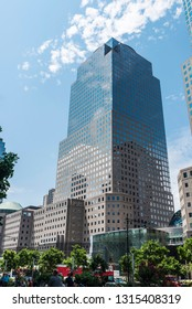 New York City, USA - July 27, 2018: Three World Financial Center in Financial District with people around in Manhattan, New York City, USA