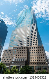 New York City, USA - July 27, 2018: Three World Financial Center in Financial District, also known as American Express Tower or 200 Vesey Street, in Manhattan, New York City, USA
