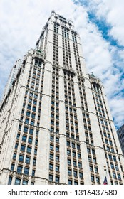 New York City, USA - July 27, 2018: Facade of the Woolworth Building in Manhattan in New York City, USA