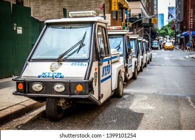 New York CIty, USA - July 7, 2018; NYC police department three wheel cars aka three-wheelers on a streets of Manhattan during summer daytime on July 7, 2018 in New York CIty