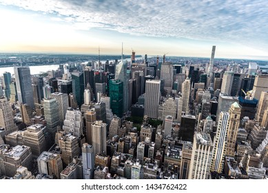 New York City, USA - July 31, 2018: Elevated view of the skyline of modern skyscrapers of Manhattan in New York City, USA