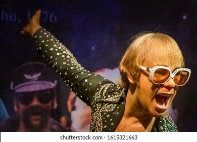 NEW YORK CITY, USA – JULY 13, 2013: Elton John wax figure at Madame Tussauds wax museum in Times Square in New York.