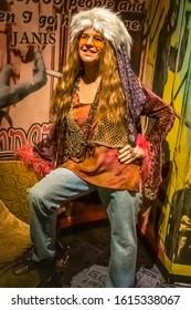 NEW YORK CITY, USA – JULY 13, 2013: Janis Joplin wax figure at Madame Tussauds wax museum in Times Square in New York.