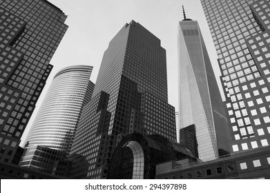 NEW YORK CITY, USA - JULY 05, 2015: Downtown Manhattan skyline featuring the World Financial Center (Brookfield Place) and One World Trade Center (Freedom Tower) in black and white monochrome.