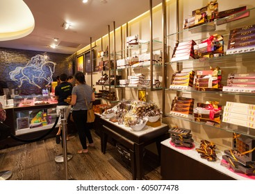 New York City, Usa - July 10, 2015: Godiva Chocolate Store Fifth Avenue in Manhattan. Godiva Chocolatier is a manufacturer of premium fine chocolates and related products.