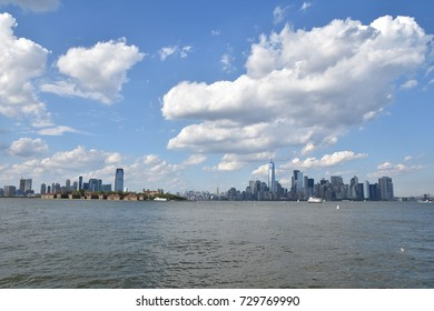 New York City, USA - July 02, 2017: Complete view of Manhattan downtown skyline over Hudson river, New York City