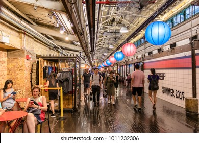 New York City, USA - June 12, 2017: Activity inside Chelsea Market