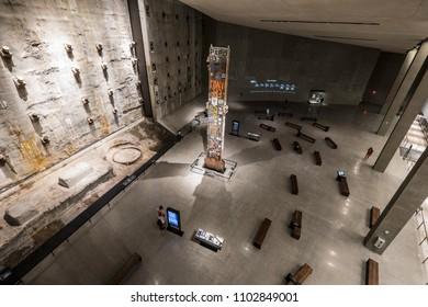 NEW YORK CITY, USA - JUNE 08 2016:  Last Column from Groud Zero and Slurry Wall segment, National September 11 Memorial & Museum, New York, New York USA