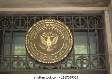 New York City, New York, USA - June 19, 2018: U.S. Bankruptcy Court Signs