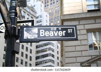 New York City, New York, USA - June 19, 2018: Beaver Street Sign