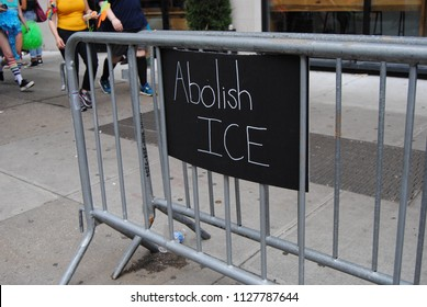 """New York City, New York / USA - June 24 2018: Someone left this sign that says, """"Abolish ICE"""" during the NYC Pride March."""
