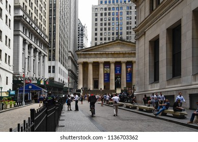 New York City, USA - June 20, 2018: Federal Hall National Memorial building from Broad Street in Financial District of NYC