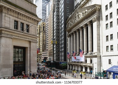 New York City, USA - June 20, 2018: New York Stock Exchange building in Wall Street in Financial District