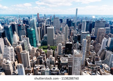 New York City, USA - June 25, 2018: Aerial view of Manhattan from Empire State Building