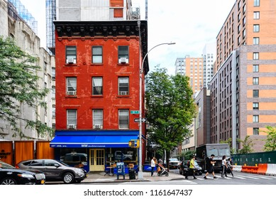 New York City, USA - June 21, 2018: Hells Kitchen street scene. Hell's Kitchen, also known as Clinton, is a neighborhood on the West Side of Midtown Manhattan.