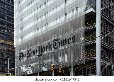New York City, USA - June 20, 2018: New York Times Headquarter in Midtown of Manhattan
