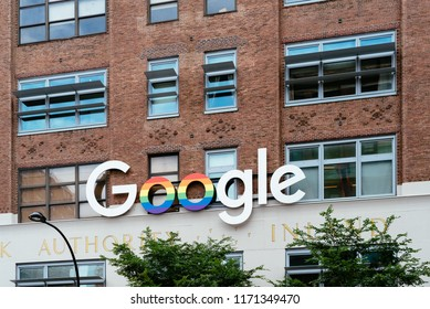 New York City, USA - June 22, 2018: Google sign with rainbow colors outside the Google office in New York City during Pride Parade. Google is a multinational technology company .