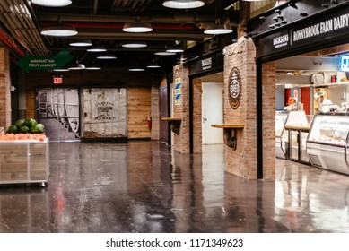 New York City, USA - June 22, 2018: Interior view of Chelsea Market in New York. Chelsea Market is a food hall, shopping mall, office building and television production facility located in Chelsea