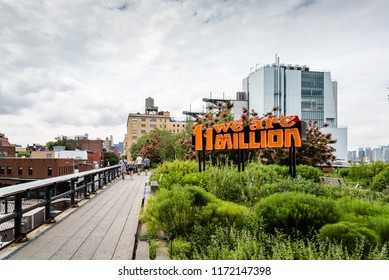 New York City, USA - June 22, 2018: We are 11 million neon sign in High Line. It was designed by Andrea Bowers for supporting DREAMers, the undocumented inmigrants in the USA