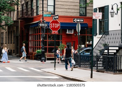 New York City, USA - June 22, 2018: Corner of Bedford Street with Grove Street in Greenwich Village, featured in Friends the famous American Television sitcom