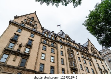 New York City, USA - June 23, 2018: Low angle view of The Dakota building in the Upper West Side of Manhattan. It was the home of John Lennon and other famous people