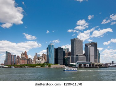 New York City, USA - June 7, 2010: View of the Skyline of the Battery Park area in Manhattan, New York City from the Staten Island Ferry.