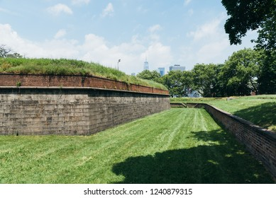 New York City, USA - June 24, 2018: Fort Jay in Governors Island, it is a coastal star fort on Governors Island in New York Harbor