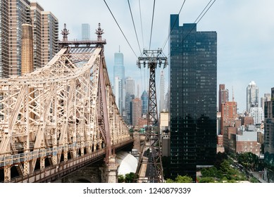 New York City, USA - June 24, 2018: The Roosevelt Island Tramway. It is an aerial tramway in New York City that spans the East River and connects Roosevelt Island to the Upper East Side of Manhattan