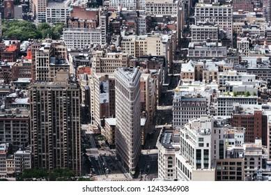 New York City, USA - June 25, 2018: Aerial view of Midwtown of Manhattan. Flatiron District