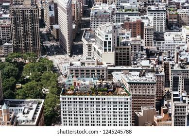 New York City, USA - June 25, 2018: Aerial view of Midtown of Manhattan. Flatiron District