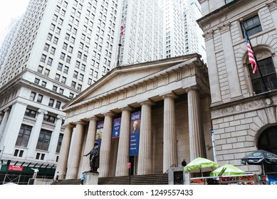 New York City, USA - June 24, 2018: Low angle view of  Federal Hall National Memorial building in Financial District of NYC