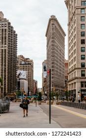 New York City, USA - June 20, 2018: Flatiron Building  in Manhattan a cloudy day of summer