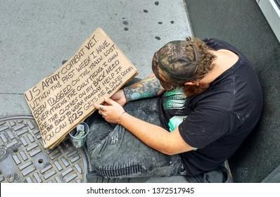 New York city, USA - June 2017. Homeless person.