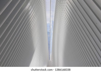 New York City, USA - June 2017 : Inside of the Oculus, Westfield World Trade Center. Detail of interior of Oculus. It is tranportation hub and mall in New York