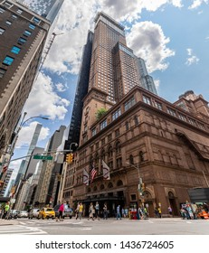 New York City, USA - June 22, 2019: Carnegie Hall in Manhattan. Located on the corner of 57th St. and 7th Ave. Carnegie Hall is probably the most famous music venues in the world