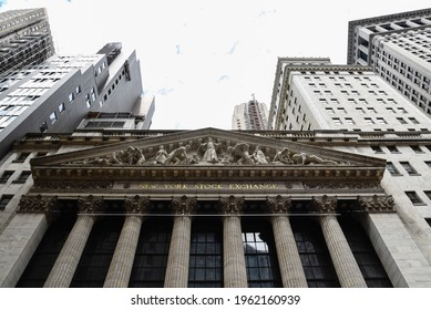 New York City, USA - June 20, 2018: Low angle view of New Stock Stock Exchange building. The New York Stock Exchange is an American stock exchange in the Financial District of Lower Manhattan. It is