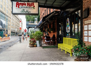 New York City, USA - June 22, 2018: Creamery with Ice Creams in Meatpacking district in Chelsea. It is the most fashionable leisure area in town. Ample Hills Creamery Bubbys