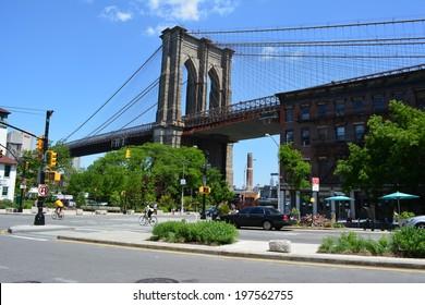 NEW YORK CITY, USA - June 6, 2014: Brooklyn side of the Brooklyn Bridge in New York City.