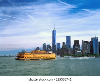 New York City, USA - June 19, 2014: Staten Island Ferry on the East River, New York City.