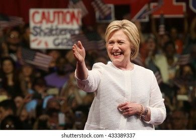 New York City, New York, USA; June 7, 2016; Democratic US presidential candidate Hillary Clinton arrives to her primary night victory rally at the Brooklyn Navy Yard in New York.