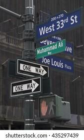NEW YORK CITY, USA - JUNE 08 2016 - New York City renames Manhattan Street in Muhammed Ali Way near Madison Square Garden in New York City, USA