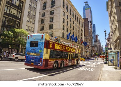 NEW YORK CITY - USA, JUNE 13 2016: Big Bus Tours New York at 5th Avenue. It offers sightseeing tours of New York on an open top double decker bus.