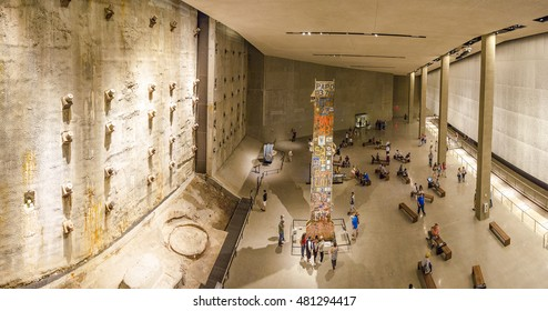 NEW YORK CITY, USA - JUNE 18 2016 - Panoramic view of the interior  National 9/11 Memorial Museum. The Last Column Remnants and Slurry Wall. Ground Zero in Lower Manhattan, New York City, USA