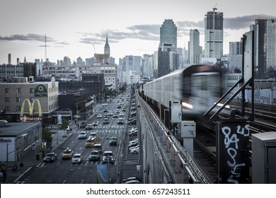 New York City, USA - June 9, 2017: NYC cityscape view from 40 St Lowery St subway station.