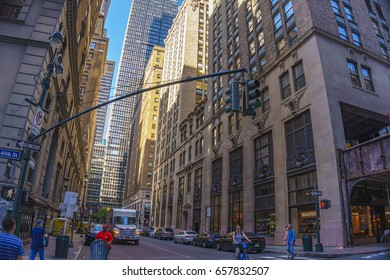 NEW YORK CITY - USA, JUNE 13 2016: Urban view at the center of New York city. Architectural Buildings and Streets of New York, United States of America.